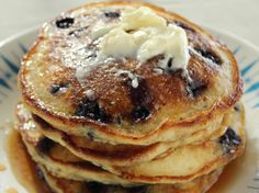 Blueberry Pancakes from Trisha Yearwood, I use this for all my pancakes it is amazing , sub bananas, strawberry, or plain no fruit and they are perfect everytime. Make a little thinker and use on waffle iron. You will not regret trying this one!!!!!!