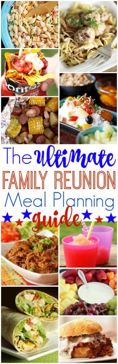 The Ultimate Family Reunion Meal Planning Guide Over 30 tasty crowd-pleasing recipes and tips for successful reunion meal planning! Everything you need and more for the perfect family reunion! via /favfamilyrecipz/ Cooking For A Crowd, Food For A Crowd, Vacation Meal Planning, Vacation Ideas, Vacation Pics, Party Planning, Vacation Games, Vacation Packing, Menu Planning