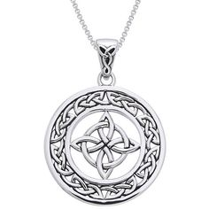 Channel the luck of the Celts with this lovely piece of sterling silver Celtic jewelry. The hand-finished Celtic knot pendant hangs from an 18-inch box chain. Traditionally given as a gift to bring good fortune, this symbolic necklace is sure to please.