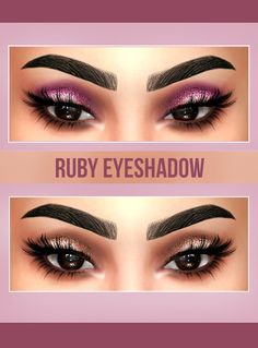 """kenzar-sims4: """"RUBY EYESHADOW• 6 swatches • Found in eyeshadow • Works with Hq (Pictures took with Hq mod) • Hope you like it ! • Tag me if you use it ! Download at my Blogspot(no adfly)"""""""