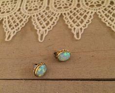 Vintage White Opal 14K Gold Earrings.  Absolutely LOVE.