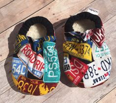 License Plate booties, License Plate Moccs, License Plate soft sole shoe, Baby Shower Gift, Unisex Booties, Unisex Moccs by DGBooties on Etsy