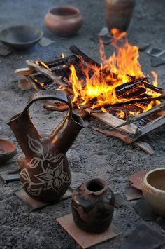 A traditional firing of pottery at the Poeh Cultural Center and Museum, Pojoaque, New Mexico.