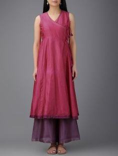 Fuchsia Chanderi Angrakha Kurta with Mukaish