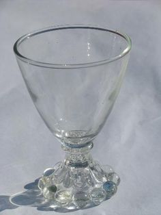 Boopie candlewick beads footed wine or juice glasses, vintage Hocking glass