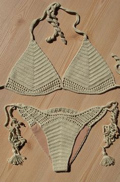Full Lined Beige Crochet Bikini, Women Crochet Brazillian Bikini, 2015 Summer Trends, Holidays Accesories / FORMALHOUSE