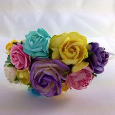 Purple, Aqua and orange Floral Headband Flower Fascinator Vintage Wedding Party Bridal Accessory Bridesmaid statement on Etsy, 140,85kr