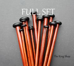 Shop for on Etsy, the place to express your creativity through the buying and selling of handmade and vintage goods. Crochet Supplies, Knitting Supplies, Wooden Knitting Needles, Cherry Finish, Full Set, Sticks, Handmade, Etsy, Tools
