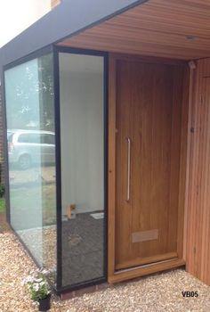 Contemporary Front Doors, oak iroko and other woods, Bespoke Doors Porch Uk, Front Door Porch, Front Porch Design, Glass Front Door, House With Porch, Front Door Entrance, House Front, Porch Extension, House Extension Design