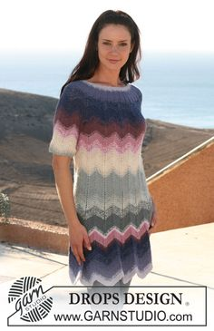 "DROPS dress in zigzag pattern with short raglan sleeve in ""Alpaca"" and ""Cotton Viscose"". Size XS - XXXL. ~ DROPS Design"
