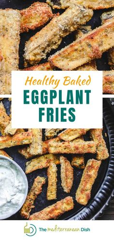These simple baked eggplant fries are the perfect snack or appetizer for a crowd. Crispy on the outside, velvety tender on the inside! Try these for a perfect dish everytime! #eggplantrecipes #comfortfood #healthycomfortfood Vegetarian Appetizers, Easy Appetizer Recipes, Vegetarian Recipes Easy, Good Healthy Recipes, Healthy Baking, Vegan Meals, Easy Recipes, Dinner Recipes, Mediterranean Diet Recipes