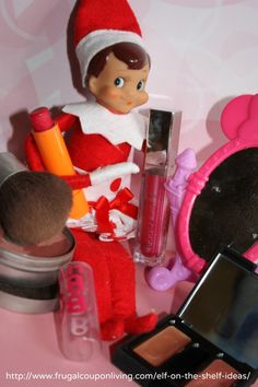 Dozens of Easy The Elf on The Shelf Ideas –  Elf Gets Dolled Up #elfontheshelf #elfontheshelfideas