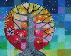 Ein 7,25 x 9 Zoll (ca. 18 x 23 cm) Druck eines meiner ursprünglichen Gemälde mit dem Titel Baum und Stars, von meiner Testmuster-Bäume-Serie.