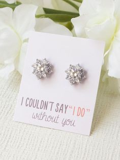 Personalized Bridesmaids Gift Bridesmaids Earrings by AMYOBridal