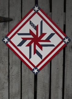 Painted Wood Barn Quilt Liberty Star Pattern by TheBarnQuiltStore
