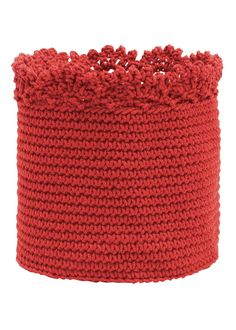 Round red basket with crochet edge. Perfect for holiday decorating! #Christmas #storage