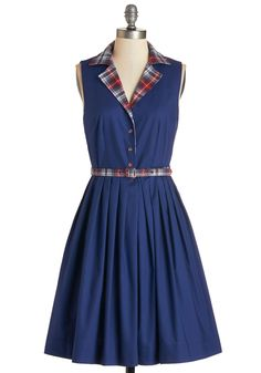 Beacon of Charm Dress in Plaid by Bea & Dot - Cotton, Woven, Blue, Red, Plaid, Buttons, Belted, Casual, Vintage Inspired, 50s, A-line, Sleeveless, Fall, Better, Collared, Pockets, Scholastic/Collegiate, Exclusives, Variation, Private Label, Full-Size Run, Mid-length