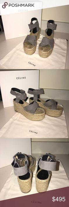 Celine Criss Cross Eapadrille Gently used espadrilles. Purchased summer 2016. Comes with original dust bag and box. Size 37 but fit like 7.5 Celine Shoes Wedges