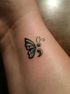 Semicolon tattoo designs are a symbol of silent fight. Find lots of semicolon tattoo ideas and the meaning behind it of Amy Bleuel and the Semicolon tattoo project. Love the butterfly semicolon tattoos. Butterfly Tattoo Cover Up, Butterfly Tattoo Meaning, Butterfly Tattoo On Shoulder, Butterfly Tattoos For Women, Butterfly Tattoo Designs, Shoulder Tattoos, Butterfly Wings, Shoulder Sleeve, Wrist Tattoos