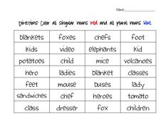 Singular and Plural Nouns  Common Core aligned, this pack is perfect for your classroom. Great for Language Arts or ELD grade 3-5.  This activity pack includes a variety of:  Whole Group,   Center work,  Individual practice  and partner practice   activities to ensure students have a mastery in this Common Core Standard.   This pack includes:  2 Plural/Singular noun Sorts  30 Singular/Plural Bridge Map Activities  A 33 card, game board activity  9 Plural noun Rule posters