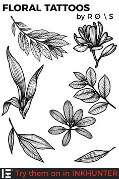 Awesome floral tattoos designed by Roman Striga Tropical Flower Tattoos, Floral Tattoos, Floral Tattoo Design, Flower Tattoo Designs, Leaf Tattoos, Sleeve Tattoos, Gun Tattoos, Ankle Tattoos, Arrow Tattoos