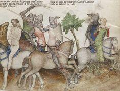 Manuscript     BNF Français 343 Queste del Saint Graal / Tristan de Léonois Folio     43r Dating     1380-1385 From     Milan, Italy Holding...