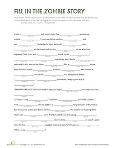 Get spooked with a zombie fill-in-the-blank story! This exercise helps kids review parts of speech and grammar.