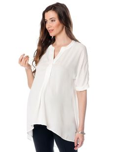 A Pea in the Pod Elbow Sleeve High-low Hem Maternity Tunic