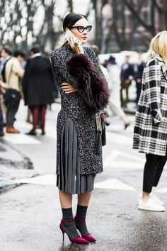 outside Giorgio Armani Milan fw day 6 – Sandra Semburg