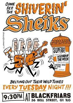 Shiverin' Sheiks show Marcel, Graphic Design, Posters, Vintage, Artists, Poster, Vintage Comics, Billboard, Visual Communication