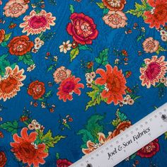 Abraham Blue Floral Printed Silk Jacquard (Sold as a Piece)