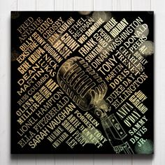 Swing Legends Canvas - A typographic tribute to the greatest crooners and divas of all time. The artwork features a collage of names surrounding a vintage microphone centrepiece.