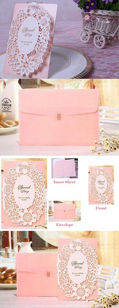 Invitation Cards, Tennove Engagement invitations Cards 50Pcs Classic Laser Cut Wedding Invitation Cards Kit for Party Baby Shower Graduation Birthday Invitation Favors with Envelopes Seals (Pink)