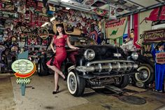hot rods and girls | ... : Pinup Girl photo shoot in a hot rod garage by Boudoir Louisville