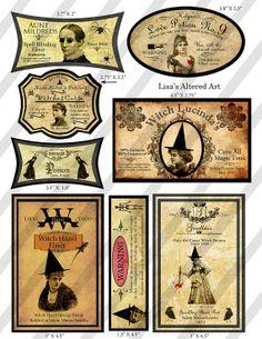 Creepy Halloween Labels Digital Collage Sheet Vintage Halloween Labels #halloween #labels www.loveitsomuch.com