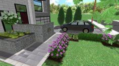 3d Landscape, Landscape Designs, Privacy Panels, Fence Panels, Birds Eye View, Planters, Sidewalk, Bloom, Garden