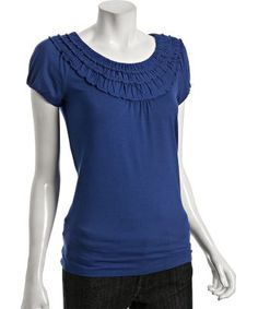 LOVE THIS TOP. cobalt blue jersey ruffle scoop neck : style # 311202901
