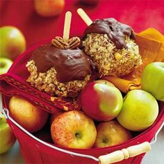 Caramel Apples Recipe - I altered this recipe to 1/2 T water and 1/2 T half & half.  I used peanuts, and didn't use chocolate.  But this made great caramel for caramel apples, and would work well as a base for any kind of nut, chocolate, etc.