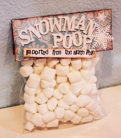 "Today is the 10th day of the Twelve Days of Christmas Crafts! Snowman Poop is a great gag gift for kids or someone you want to make laugh. The sillier the wording you put on the package, the better! The ""poop"" is just marshmallows, which everyone loves. Pair with a Hot Cocoa packet for aRead More »"
