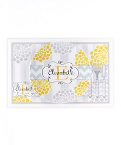 Take a look at this Yellow & Gray Mum Personalized Dining Set by Farmhousefive Art for Kids on #zulily today!