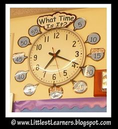 Additions to boring school clock...helps students practice the math standard of time-telling all day long!