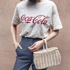 $10 Coca Cola Red Logo Marl Light Grey T-Shirt With Spring Time Checked Pants