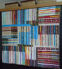 Okay, it's not a library.  It is, instead, a Strips on Stripes quilt - but it looks like a library.  I wanted to post it to I Should Quilt This or to Art or to Covet - but it looks like a library, so here it is.