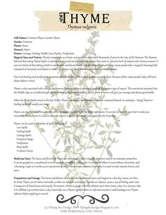 Free BOS page on the Magical and Medicinal uses of Thyme