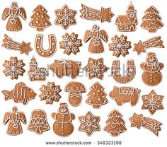 Collection Christmas Gingerbread Cookies Isolated On Stock Photo (Edit Now) 348323198 Christmas Food Gifts, Christmas Sweets, Christmas Gingerbread, Christmas Activities, Gingerbread Cookies, Christmas Time, Christmas Crafts, Christmas Decorations, Italian Christmas