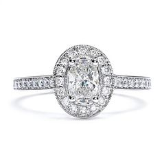 Sylvie Bridal Collection Oval-Shaped Diamond Ring with Halo