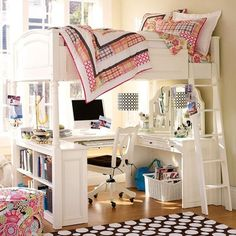 loft beds for girls in white with desk