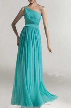 Custom Tiffany Blue Chiffon Dress,Long Turquoise Bridesmaid Dresses,One-Shoulder Bright Teal Bridal Party Dresses,Aqua Chiffon dress(CST001) on Etsy, $133.84