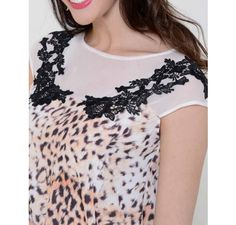blusa animal print oncinha com tule