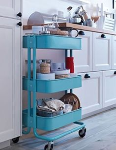 This hardwearing utility cart is small enough to fit into odd spaces or under floating shelves. This steel powder-coated find is a favorite among home bloggers for bathroom storage, bar carts, and more. RASKOG utility cart, about $30; IKEA